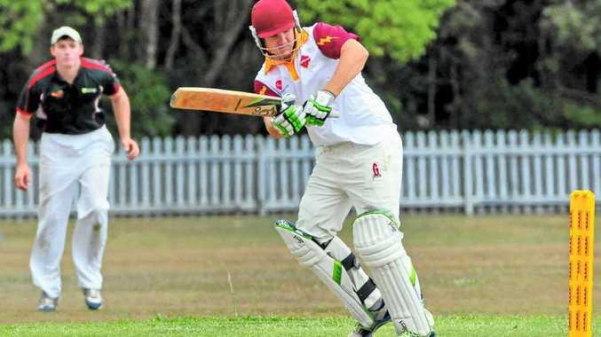 Tewantin Noosa batsman Jacob Denien in action against Hinterland Hawks at Read Park in Tewantin yesterday.