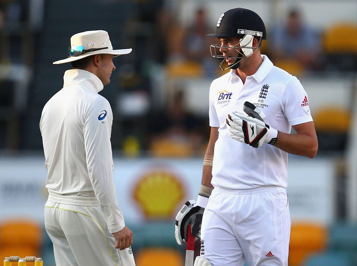 Michael Clarke of Australia and James Anderson of England exchange words