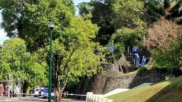 A passer-by found the slain woman next to stairs at the southern boundary of Wickham Park. Photo: Marissa Calligeros