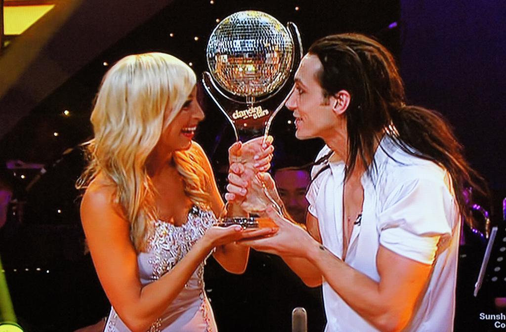 DWTS winner Cosentino celebrates with Jessica Raffa.
