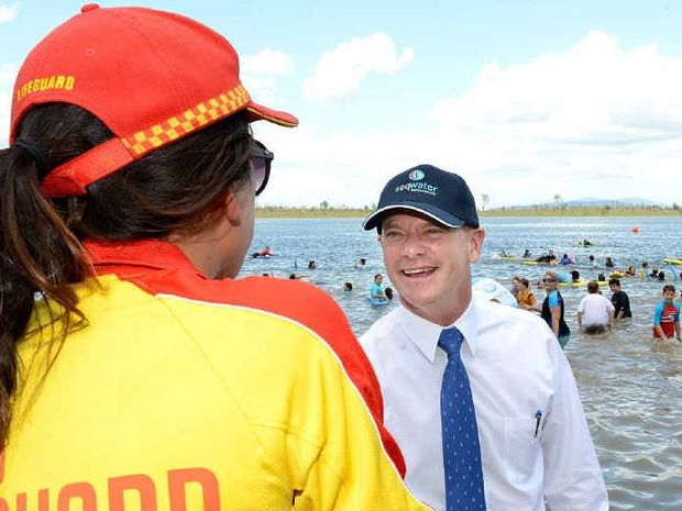 RULES RELAXED: Queensland Premier Campbell Newman at Wivenhoe Dam yesterday to announce the results of the recreation report.