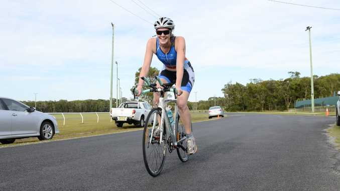 Clarence Valley Tri Club member participating in the bike event on Sunday at Yamba. Photo Debrah Novak / The Daily Examiner