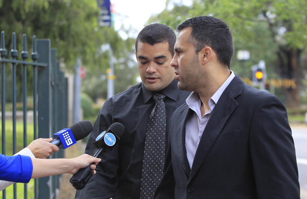 NRL player Richard Fa'aoso arrives at Campbelltown Court in Campbelltown, Tuesday, Nov 26, 2013. Fa'aoso has been charged after an alleged domestic dispute.
