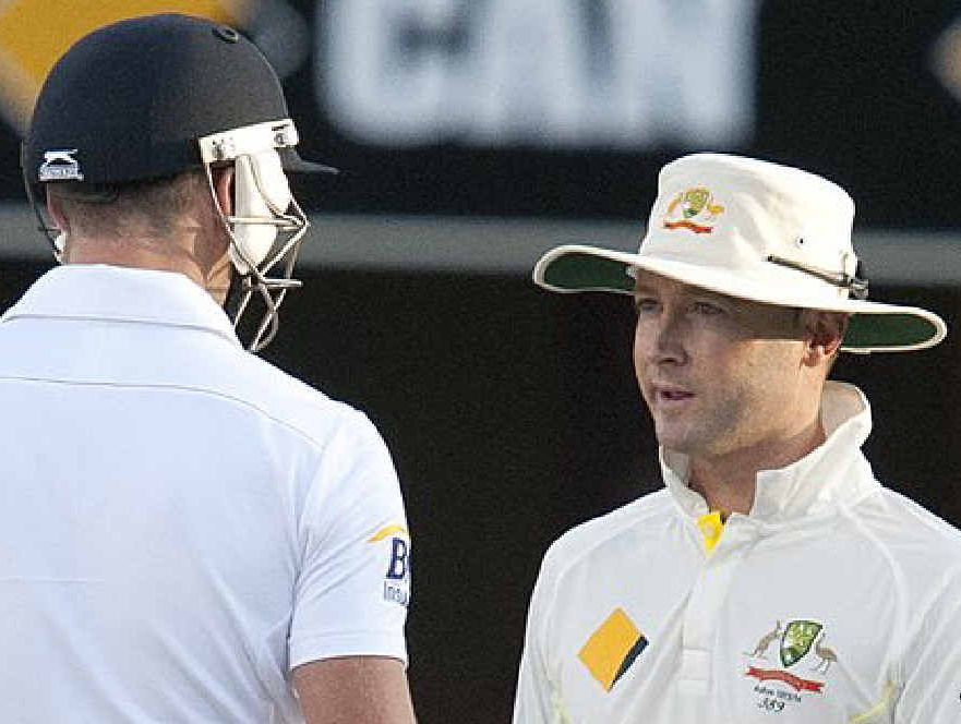 """YAWN: England's James Anderson and Australia captain Michael Clarke during an alleged moment of """"drama""""."""