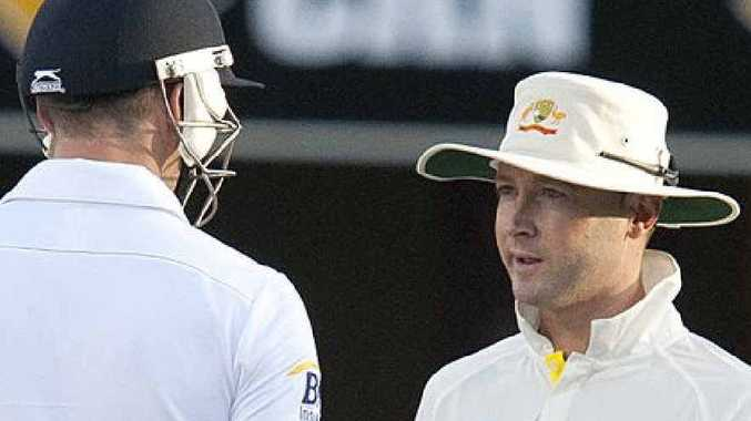 "YAWN: England's James Anderson and Australia captain Michael Clarke during an alleged moment of ""drama""."