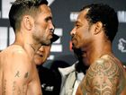 EYE TO EYE: Anthony Mundine and American Shane Mosley face off during a final weigh-in in Sydney yesterday ahead of tonight's fight.