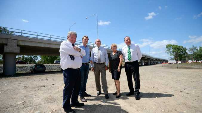 Ken O'Dowd , Scott Emerson, Warren Truss, Michelle Landry and Bruce Young at the opening of the Yeppen North Project. Photo Allan Reinikka / The Morning Bulletin