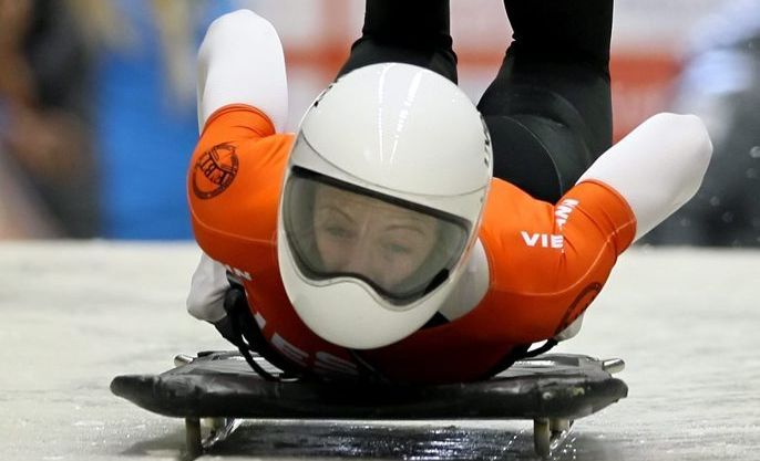 LONG JOURNEY: Bundaberg Michelle Stelle travelled around the world to compete in the World Cup event at Calgary in the lead up to the 2014 Winter Olympics. Photo: Sergei Chirikov/AAP