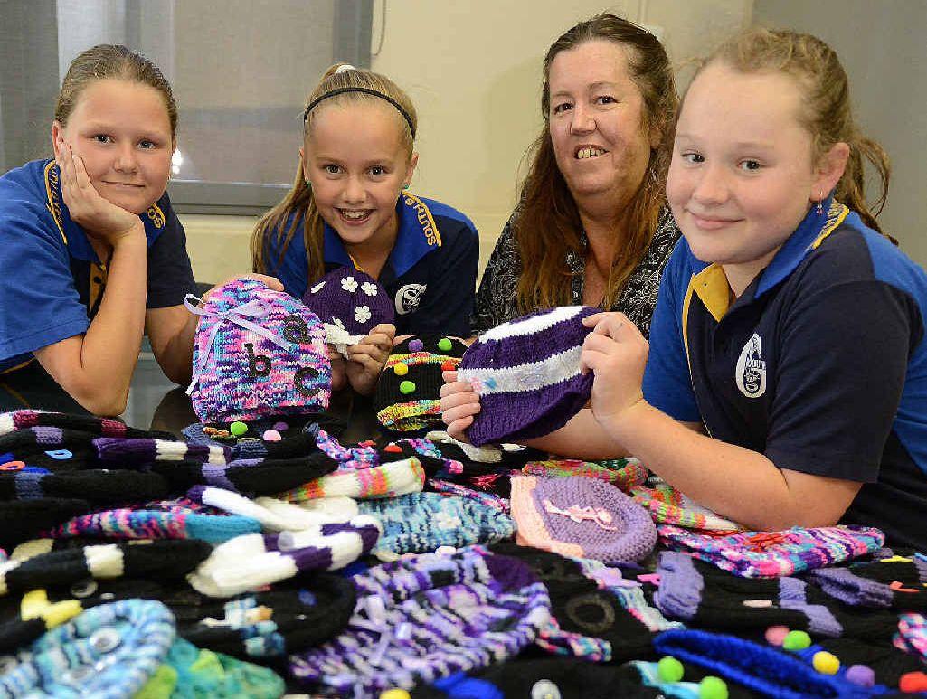 Tullie Hudson, Ebony Kjorstad, Deb Lynn and Kaylee Stubbings of the Gympie South knitting club.