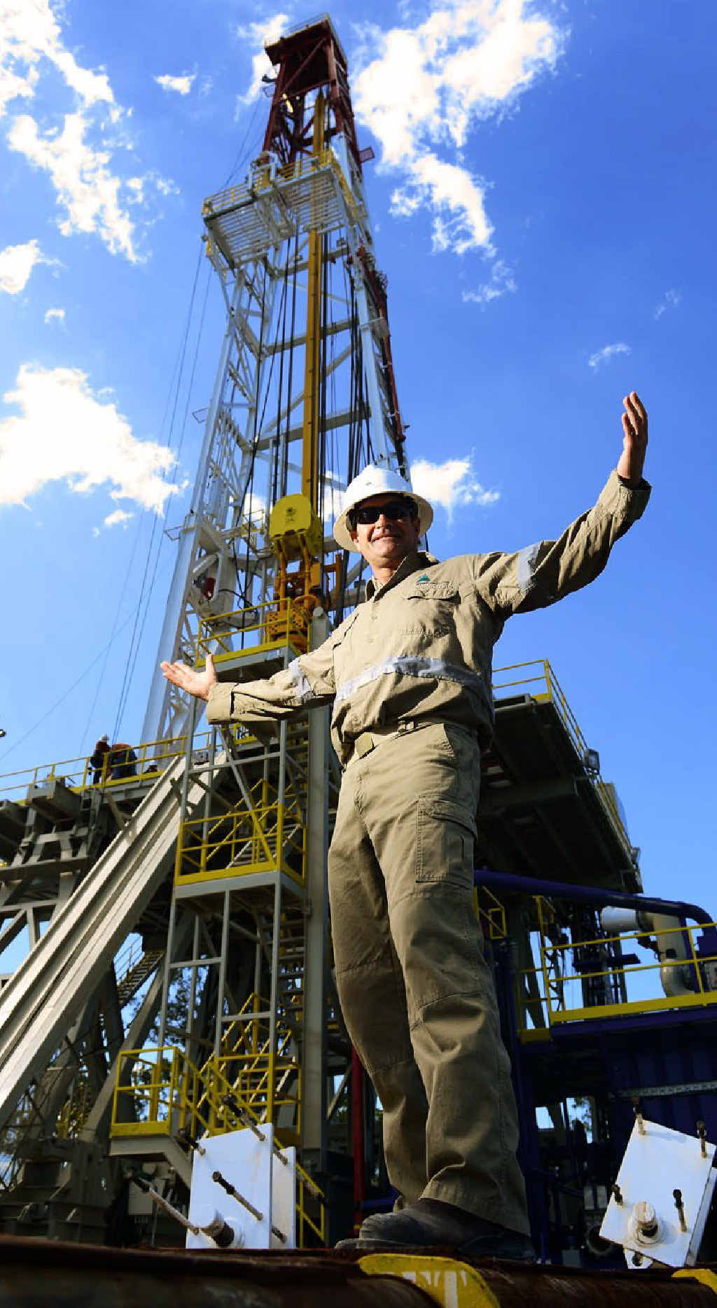 RIG THAT WALKS: Epic Drilling general manager Jeff Fox shows off Australia's deepest drilling rig, based at Redbank.