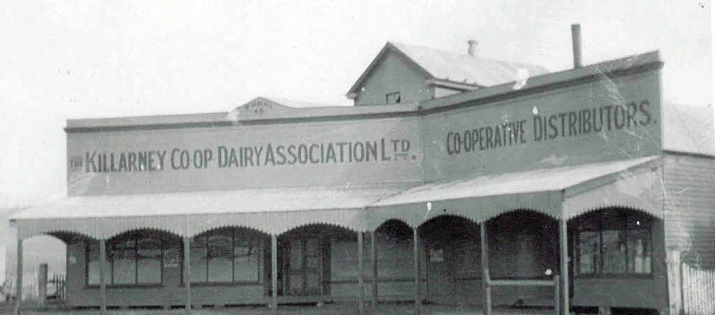 BACK IN TIME: The old butter factory in 1928. Nowadays, Killarney Co-operative Limited has CRT rural merchandise, Home Timber and Hardware, Foodworks, a shoe shop, a service station and an in-store bank agency.