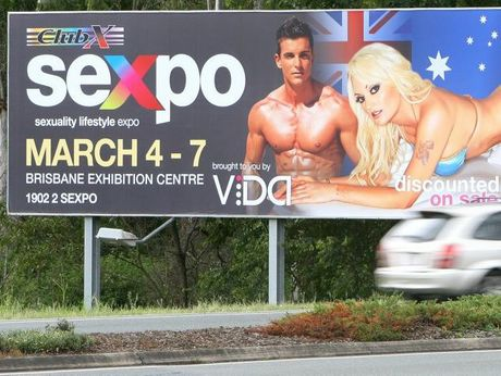CONTROVERSIAL: The Sexpo billboard on Brisbane St at Dinmore was taken down after just four days following complaints from some members of the public.