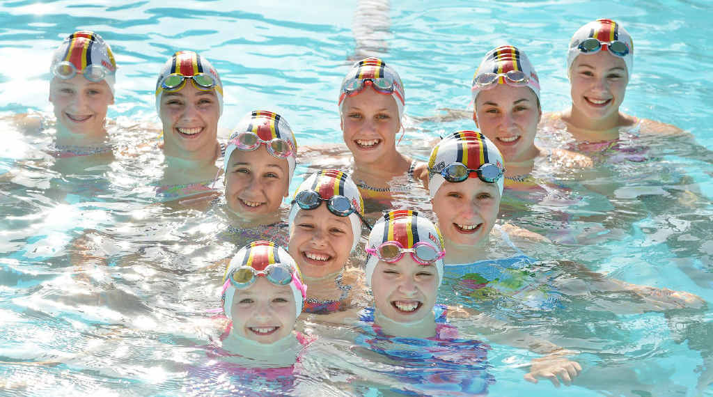 HAPPY QUALIFIERS: Western Aquatics swimmers Ella Ramsay, Ella Lane, Gracie Albion, Zoe Hill, Lilli Albion, Mackenzie Enchelmaier, Chloe Eather, Jenna Downing, Mikaela Gallaher and Mikayla Nugent are among the club's competitors preparing for the state titles.