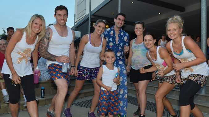 Donna Nicol, Brendan Nicol, Jess Linwood, Codi Bull (at front), Max Wiiles, Kim Deluca, Rebecca Nicol and Aimee Nicol were keen to line up in their pyjamas for the 5km Pyjama run fin honour of Naomi Barbary-Fisher. Photo Lee Constable / Daily Mercury