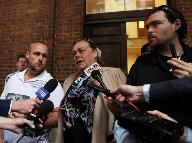 The mother and family of Kelsey Burgess speak to media after the sentencing of the three men found guilty of his 2010 murder in Sydney, Friday, Nov. 29, 2013.