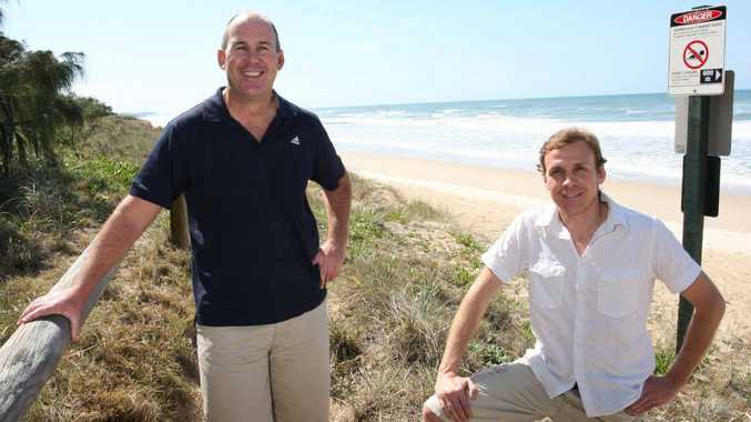 IN THE BEGINNING: Steve Dudgeon and Ben Starr, directors of soil and water management company O2 Environment and Engineering, took to the beach in 2009 to launch the company. BRW lists it as one of the fastest-growing companies.
