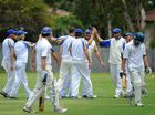 Sawtell celebrates the dismissal of another Bellinger Valley batsman.