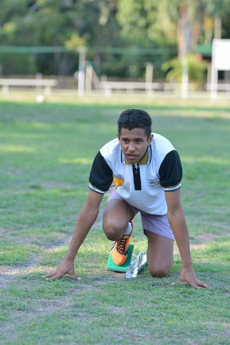 Runner Swayne Lund-Beveridge training at Cathy Freeman Oval in Slade Point.