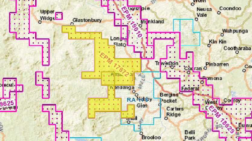 The area in yellow indicates the Mary Valley land where mining company Eclipse Metals has two permits to explore.