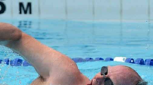Keith Moyle swims in the finals of the mixed 200m metre freestyle at the Mackay Sinkers meeting.