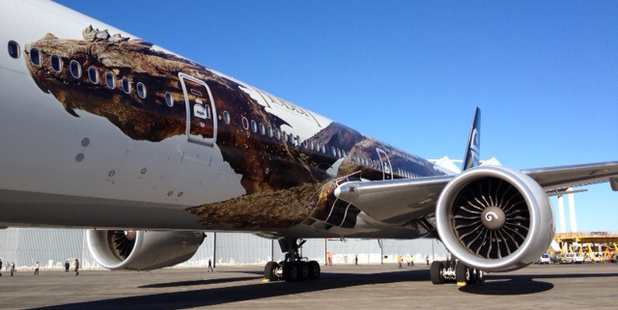 Air New Zealand's newly painted Hobbit-themed plane.
