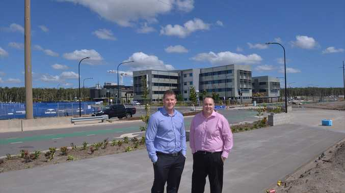 Brown Consulting engineer Shaun Pilcher, left, with area manager Brent Thomas at the Sunshine Coast University Hospital.