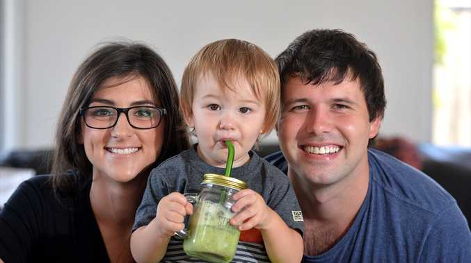 Cain Lambourn has launched a glass EcoStraw. He is pictured with son Braxton, 14 months, and wife Ashleigh.