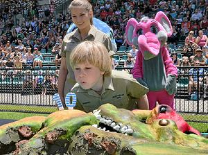 Robert Irwin feeds crocs and crowd on his 10th birthday