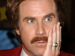 Anchorman Ron Burgundy talks it up in live newscast