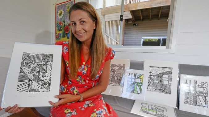 Fiona Watson showing us some of her art that is going to be on display at the Tweed River Art Gallery Christmas market.