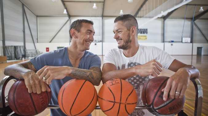 Mat Rogers and Nick Gates hang out at the Raymond Laurie Sports Centre in preparation for a game of basketball. Photo Adam Hourigan / The Daily Examiner