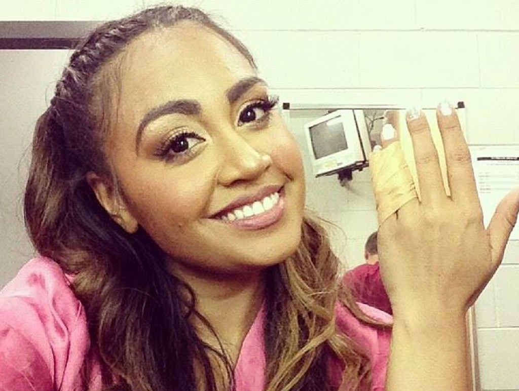 Singer Jessica Mauboy posted this photograph on her social media sites after her Rockhampton gig at the Pilbeam Theatre. She's showing off her sprained finger.