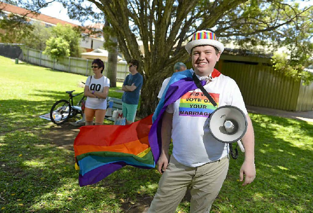 UNLOCKING DOORS: Gladstone's LGBT community attended a Marriage Equality Rally at Apex Park in Gladstone in November last year.