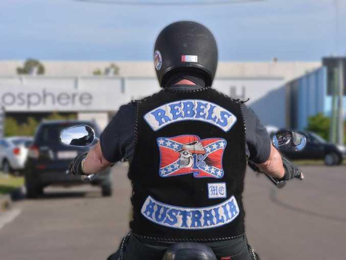 Rebels motorcycle member. Photo: John McCutcheon / Sunshine Coast Daily