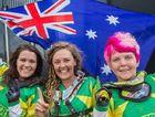 CELEBRATE: Jemma Wilson (centre) celebrates after an Australian win.
