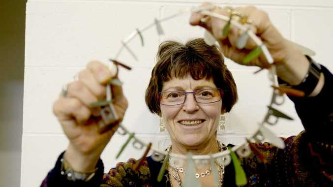 Yamba's silversmith Bobbie Winger shows off one her beautiful hand crafted pieces made from found objects at Yamba's Simply Handmade Markets on Sunday. Photo Debrah Novak / The Daily Examiner