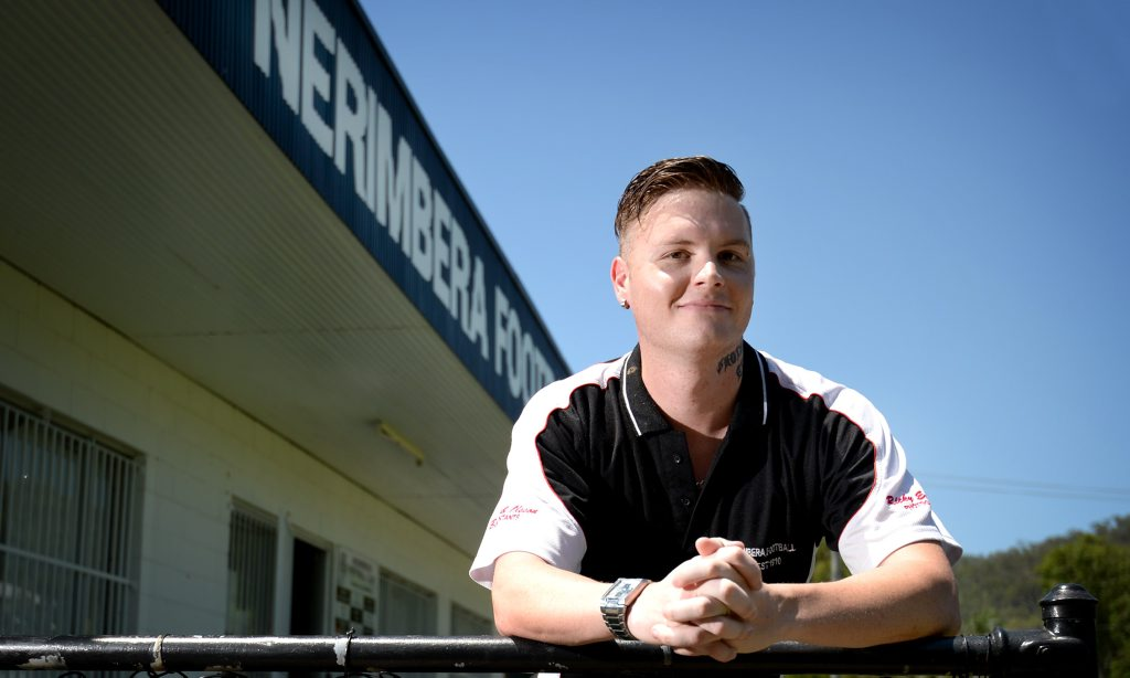 Finn MacKenzie is coach and player for Nerimbera Football Club. Photo Allan Reinikka / The Morning Bulletin