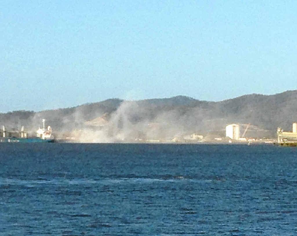 AT WHARF: Alumina dust at Yarwun's Fisherman's Landing wharf.