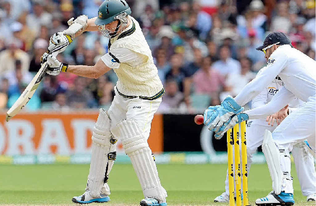 ROGERS AND OUT: Australian batsman Chris Rogers edges the ball to England wicketkeeper Matt Prior and is caught off the bowling of Graeme Swann.