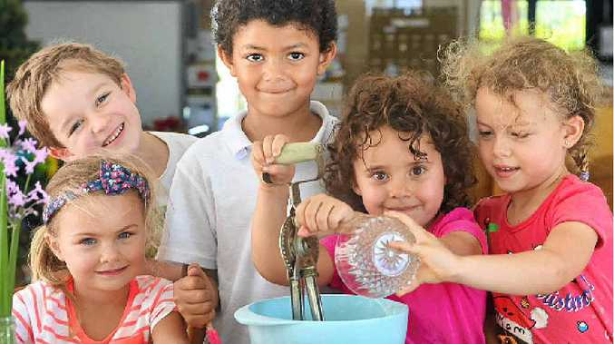 WHAT'S COOKING: Budding chefs (from left) Emielie Pritchett, Oscar Gresinger, Jack Flynn, Dali Stroud and Mayra Viasus-Zoet at Currimundi Community Kindy.