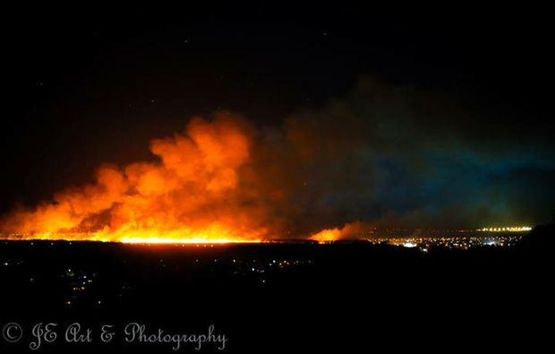 A large grass fire at Mountain Creek on Saturday.