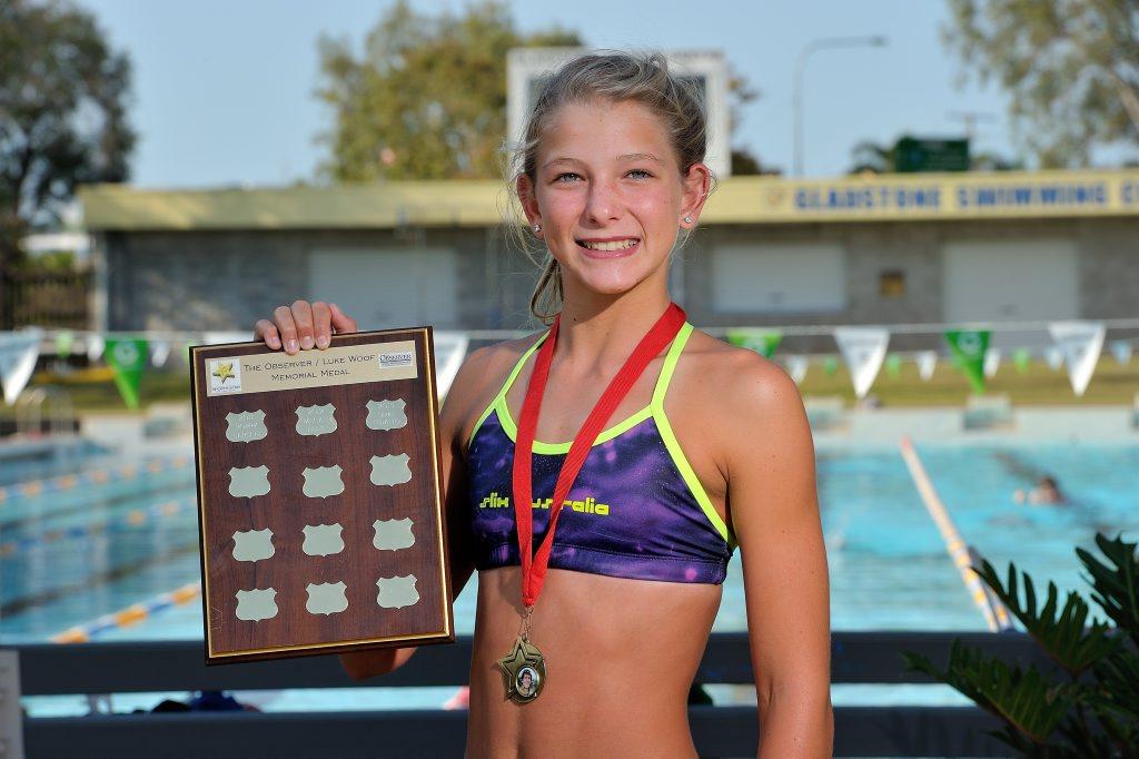 Larah Fedalto, 12, the winner of the 2013 Yaralla Sport Star Luke Woof Memorial Trophy. Photo Mike Richards / The Observer