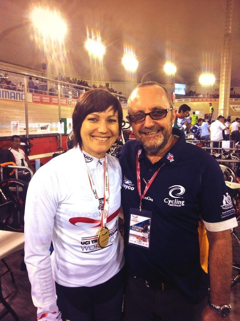 Anna Meares celebrates with her coach Gary West after winning gold and setting a new world record in the women's 500m time trial at the UCI Mexico Track World Cup.