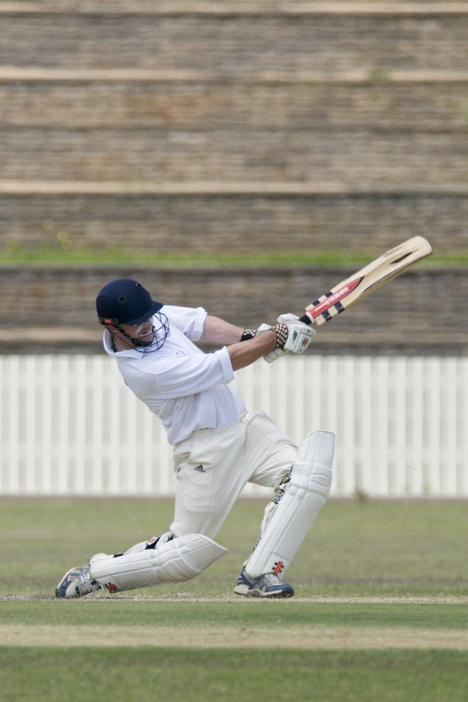 Jack Potter drives with authority for Toowoomba in yesterday's Plunkett Cup game at Heritage Oval.
