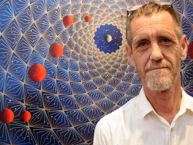 Leigh Arnold of Lismore with his 3D exhibition at the Lismore Art Gallery, Eternity.
