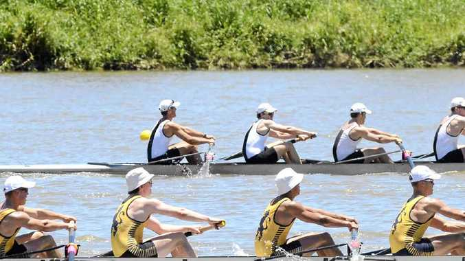 STRAIGHT EIGHTS: Rowers dig in during the Head of the Clarence rowing carnival at Grafton