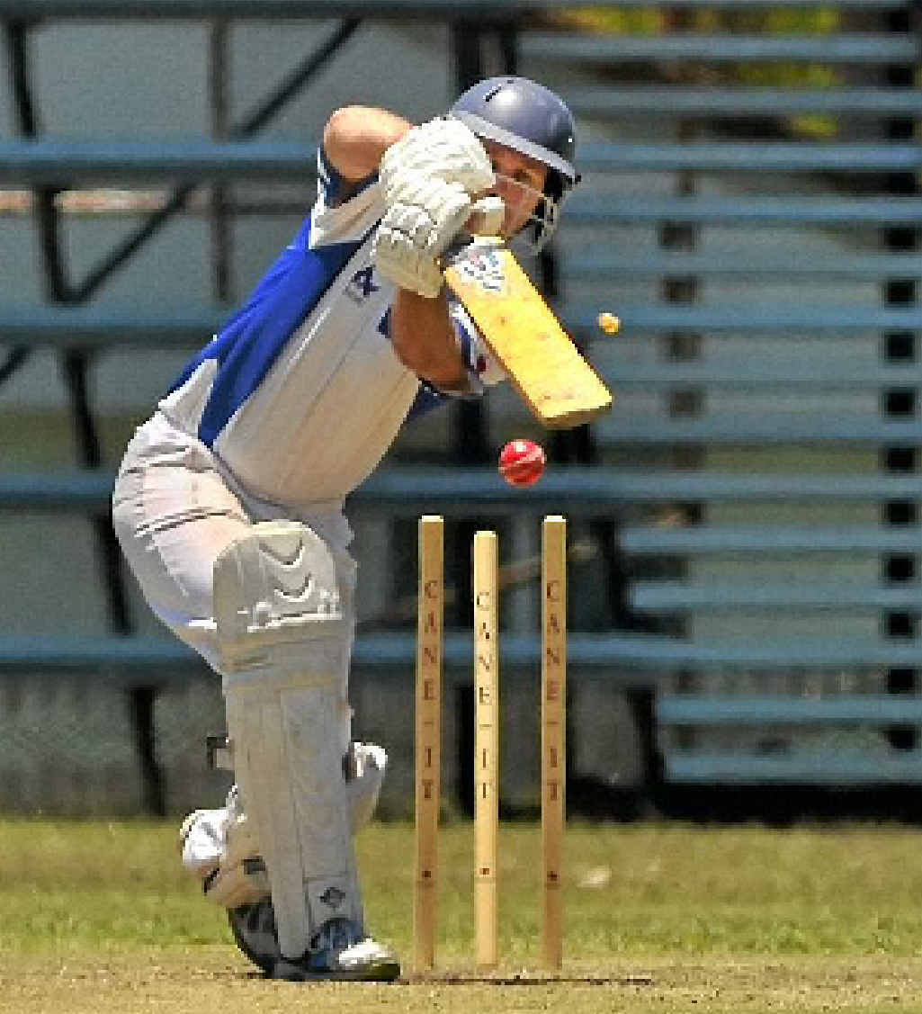 ROCKED BACK: Rockhampton opener Mark O'Keeffe is bowled by Gladstone's Trent Sorohan during the limited-overs clash at Yaralla Oval.