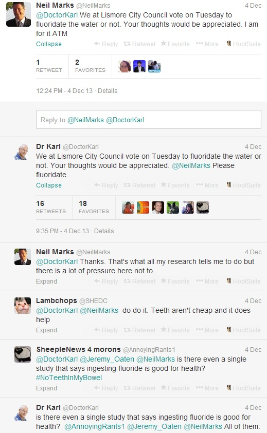 Cr Neil Marks and Dr Karl's brief exchange on Twitter