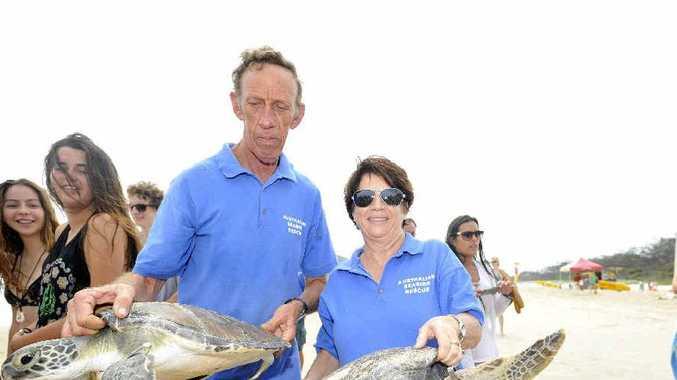 FREE: Ildridge and Braylen, were released at Main Beach in Byron Bay by Michael Hugh and Trudi Dunn of Australian Seabird Rescue.