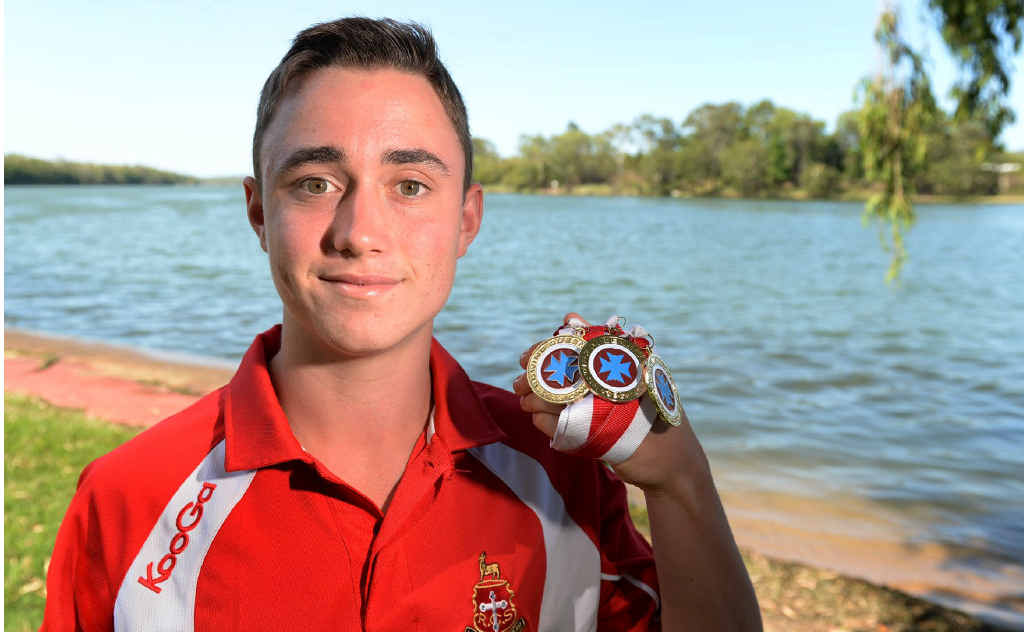GOOD HAUL: Lachlan Becker returned from the Queensland Rowing Championships with three gold medals.